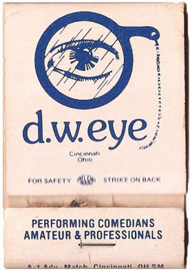 Matchbook cover to old D.W. Eye comedy club on Calhoun Street.