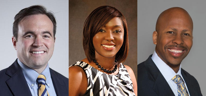 Cincinnati mayoral candidates John Cranley, Yvette Simpson and Rob Richardson, Jr. The primary is May 2