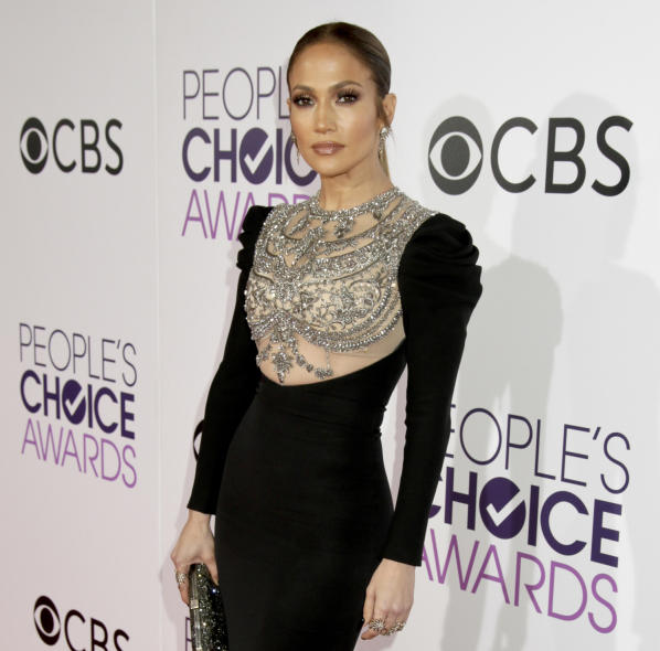 "Jennifer Lopez on the red carpet before the 2017 ""People's Choice Award"" Jan. 18."