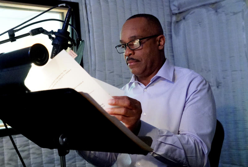 "Rocky Carroll recording the ""48 Hours: NCIS"" script."