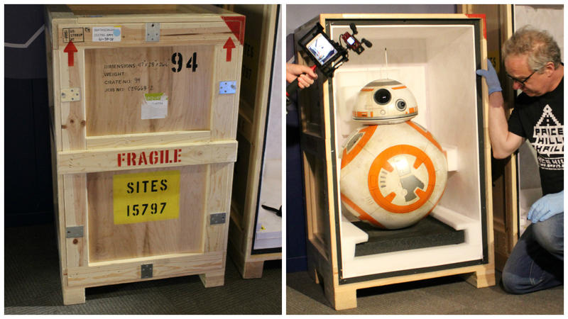BB-8 is uncrated Friday afternoon at the Cincinnati Museum Center.
