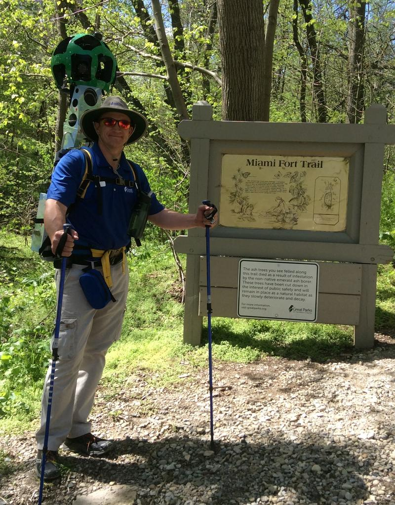 Great Parks employee Dave Liedhegner hikes the Miami Fort Trail in Shawnee Lookout with a Google camera.