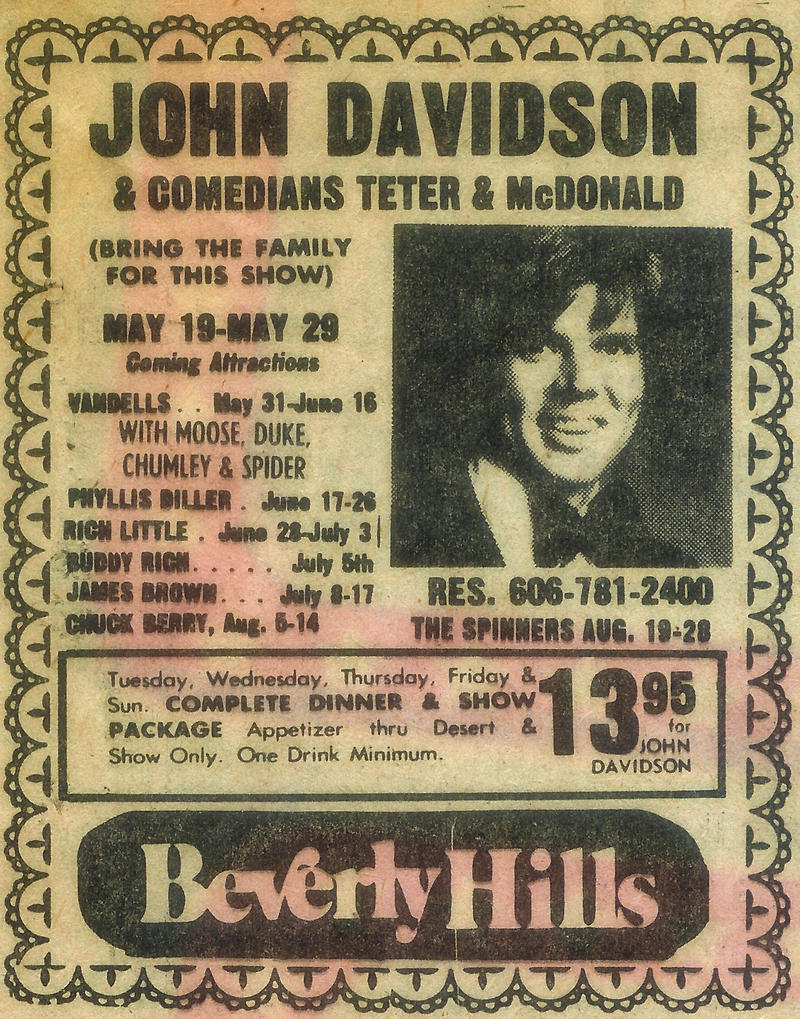 Advertisement for John Davidson's show in the Cincinnati Enquirer on May 28, 1977.