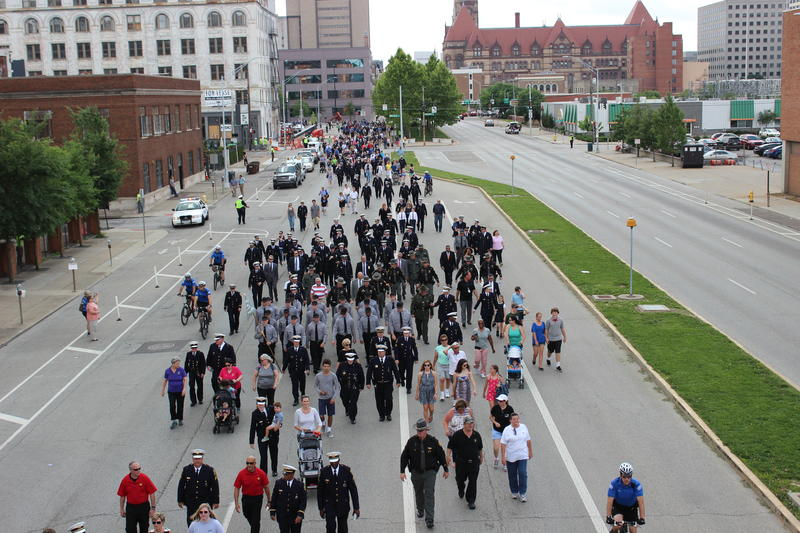 The annual procession begins at Fountain Square and concludes at the Police Memorial on Ezzard Charles Drive.