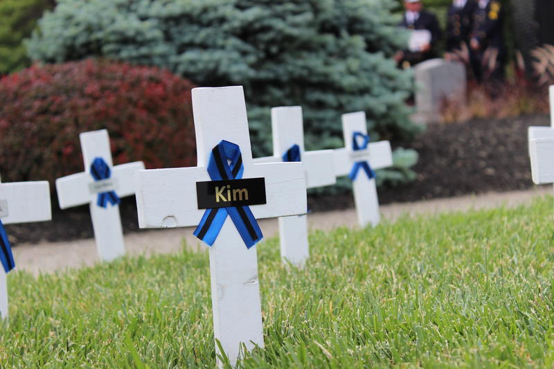 Crosses like this one for Sonny Kim recognize each of the fallen officers memorialized at the Police Memorial.