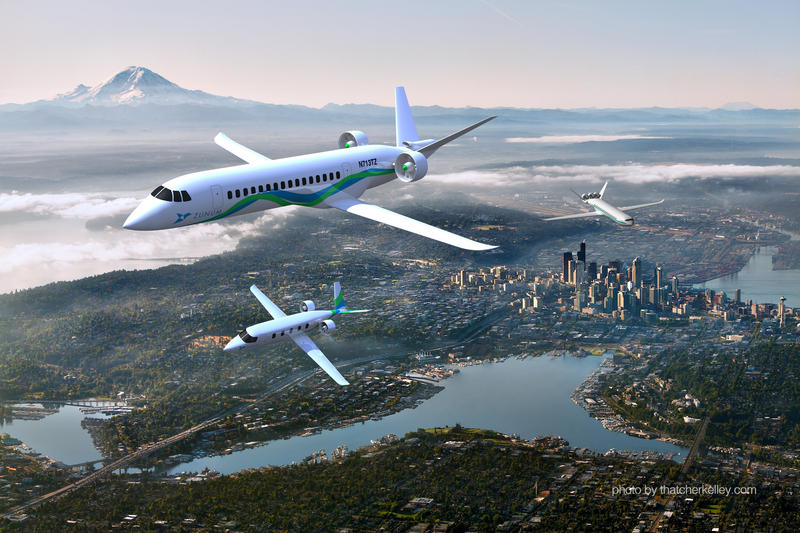 A rendering of what a sky full of electric planes would look like.