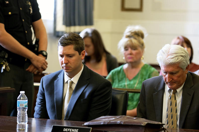 Ray Tensing, left, and his attorney Stew Mathews react as Hamilton County Common Pleas Judge Leslie Ghiz tells the jury to continue deliberations Friday, June 23, 2017, after the jury said they are deadlocked.