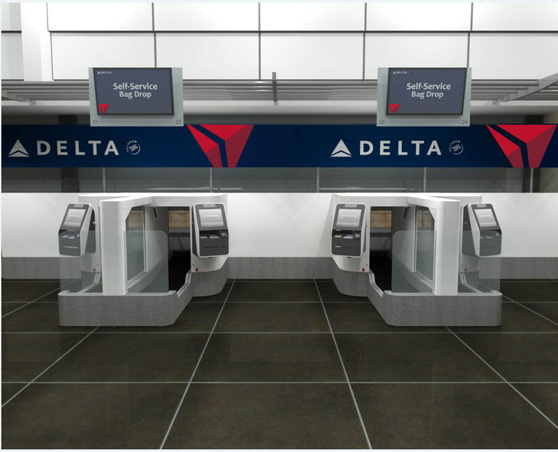 This is what Delta's bag drop will look like with facial recognition scanning ability.