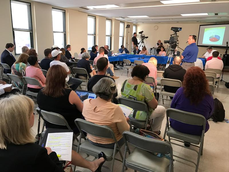 Residents attending Cincinnati budget hearing Monday night in West Price Hill.