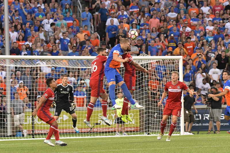 FC Cincinnati and Chicago Fire players go up for a headball in front of goal in the U.S. Open Cup Round of 16.