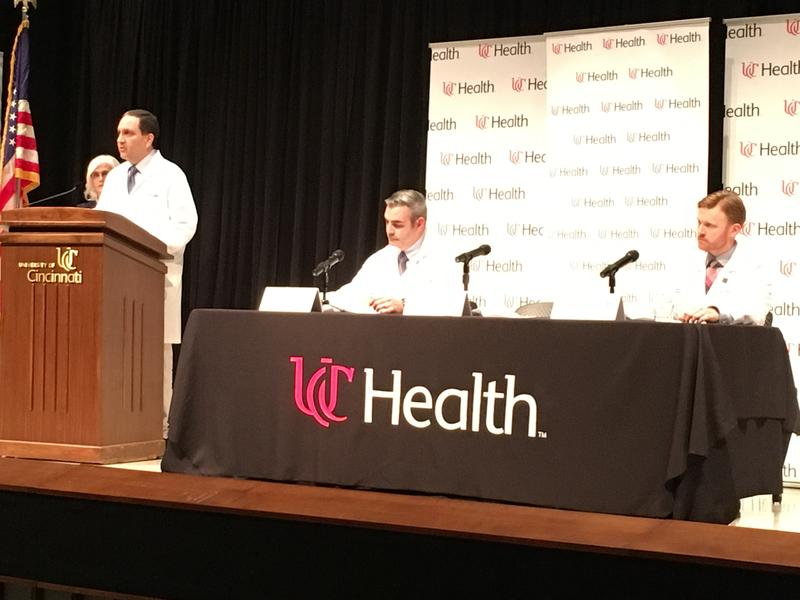 (from left) Dr. Daniel Kanter, Dr. Jordan Bonomo, Dr. Brandon Foreman, all neurologists at the University of Cincinnati Medical Center, explaining Otto Warmbier's condition.