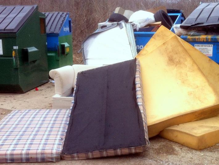 Items like tires and mattresses are dumped, things that aren't recyclable.