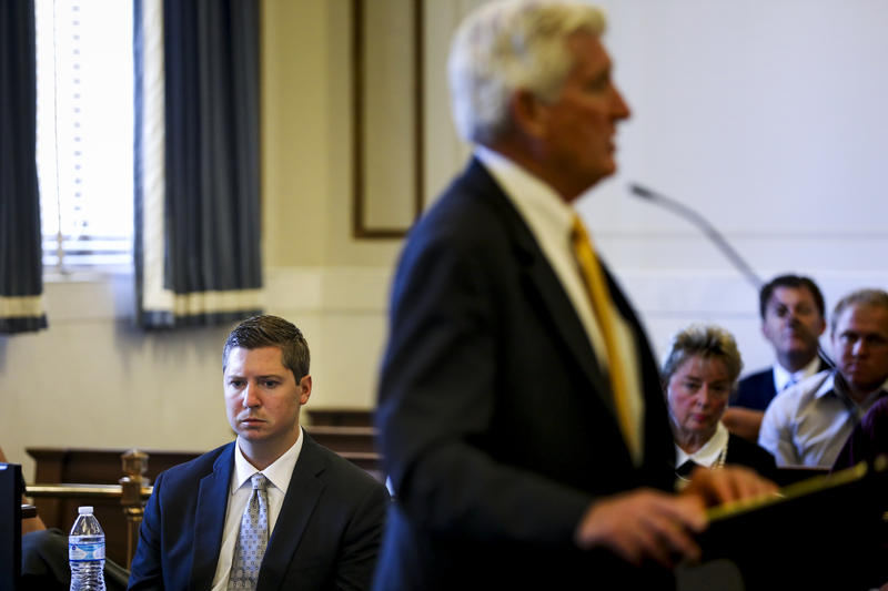 Ray Tensing listens as his attorney, Stew Mathews, presents closing arguments Monday during his retrial.