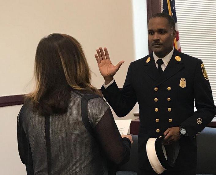Cincinnati Fire Chief Roy Winston being sworn-in Thurday.