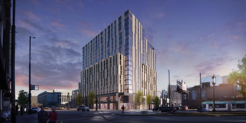 Artist rendering of the building at Court and Walnut.