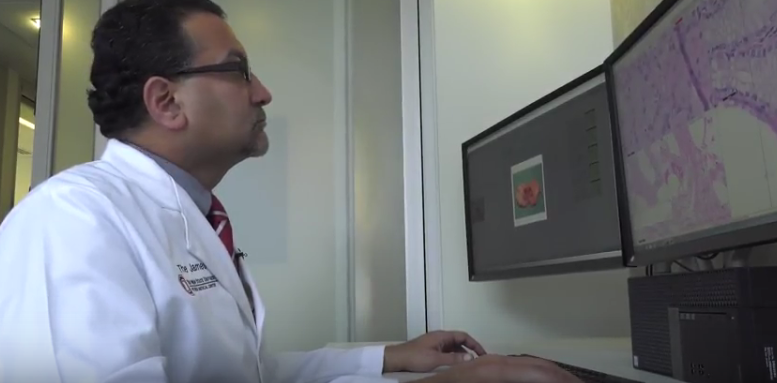 Director of Digital Pathology Anil Parwani looks at a digital image which, combined with computer algorithims, can more accurately diagnose cancer.