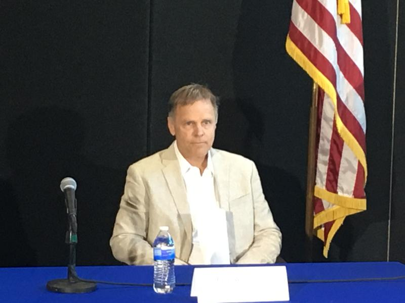 Fred Warmbier, speaking publicly about his son Otto, is wearing the same jacket his son had on when confessing to stealing a propaganda poster in North Korea.