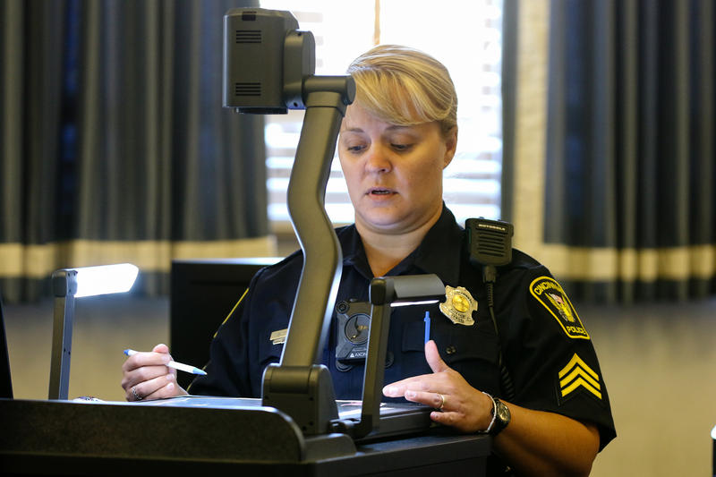 Cincinnati police Sgt. Shannan Heine testifies on the second day of Raymond Tensing's retrial in Hamilton County Common Pleas Judge Leslie Ghiz's courtroom Friday, June 9, 2017.