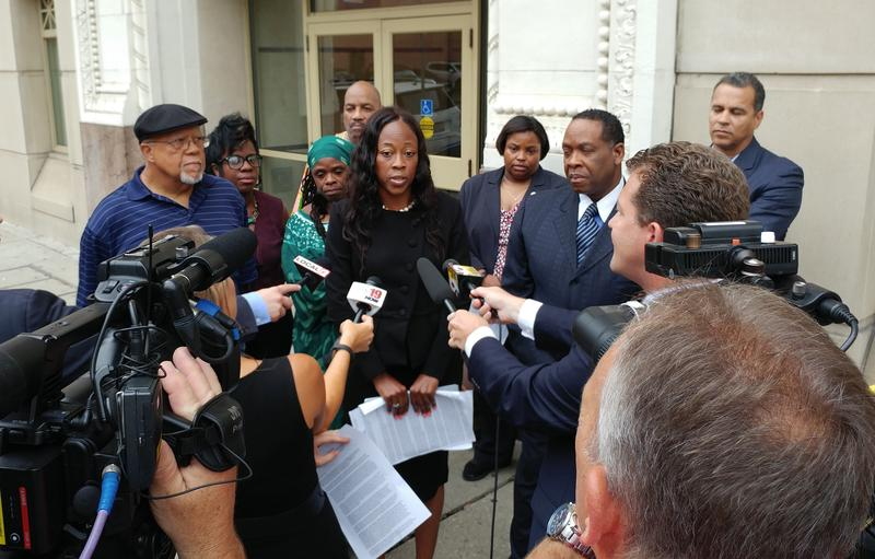 Donyetta Bailey and other activists talk with the media after the second mistrial of Ray Tensing.