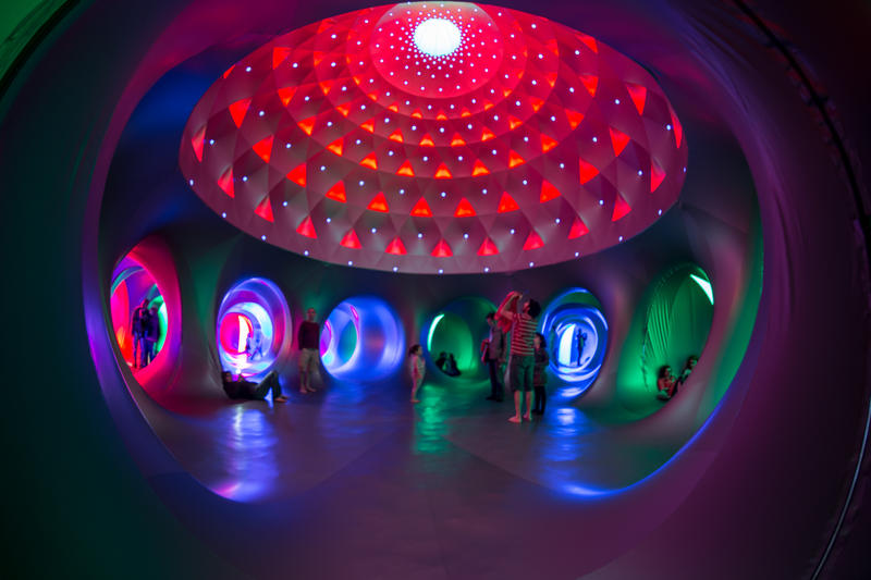 The luminariums are giant inflatable sculptures.