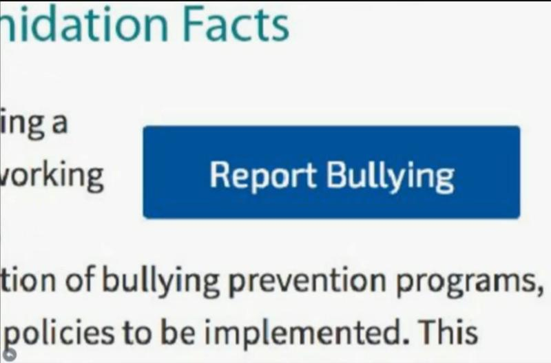 This button will soon be added to the CPS website. Clicking the blue box will allow people to report incidences of bullying.