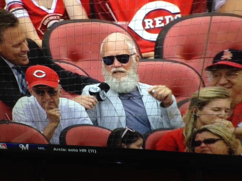David Letterman interviewed by Jim Day during the Reds game telecast Sunday. At left is Letterman's longtime comedy writer Bill Scheft.