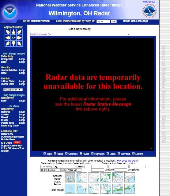 The National Weather Service webpage shows no data from the Wilmington radar station.