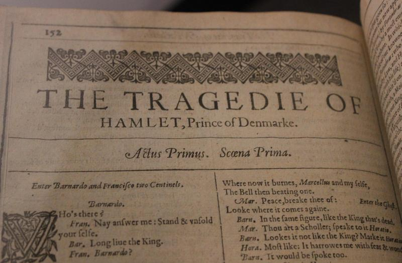 "This rare volume containing one of the first printings of ""Hamlet"" was published in 1623."