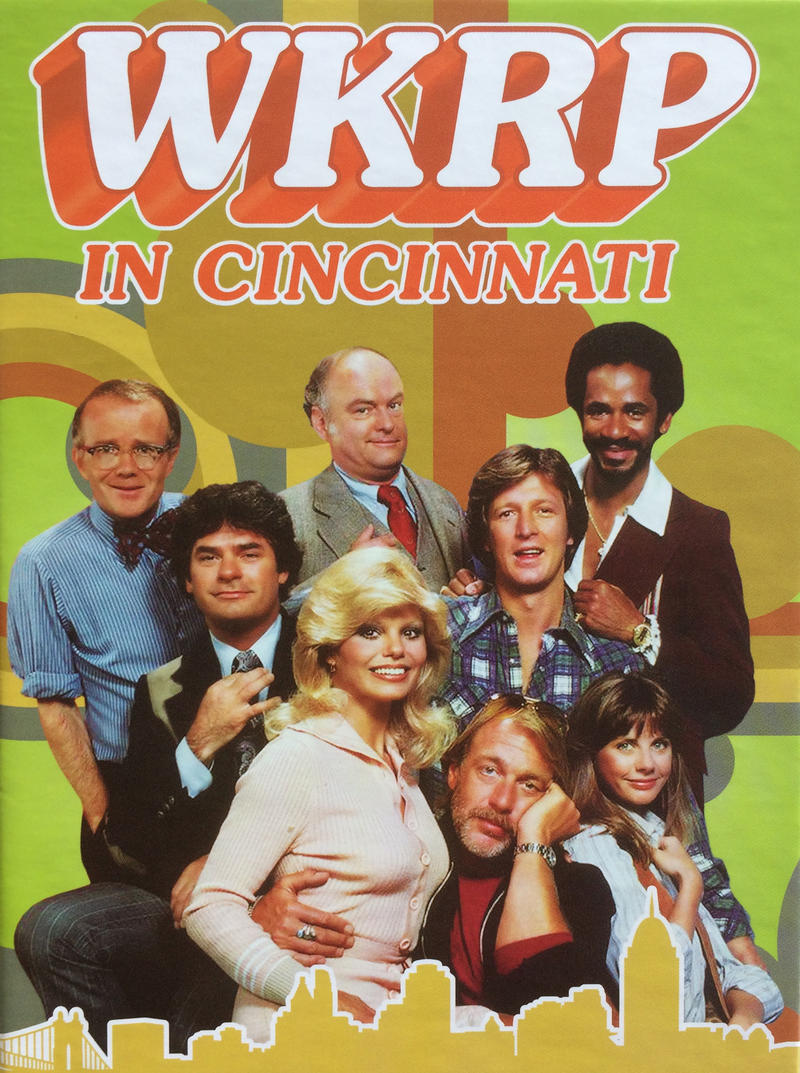 """WKRP"" cast clockwise from upper left: Richard Sanders, Gordon Jump, Tim Reid, Gary Sandy, Jan Smithers, Howard Hesseman, Loni Anderson and Frank Bonner."