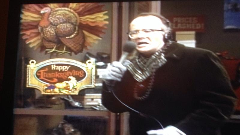 Les Nessman broadcasts WKRP's turkey drop promotion in 1978.