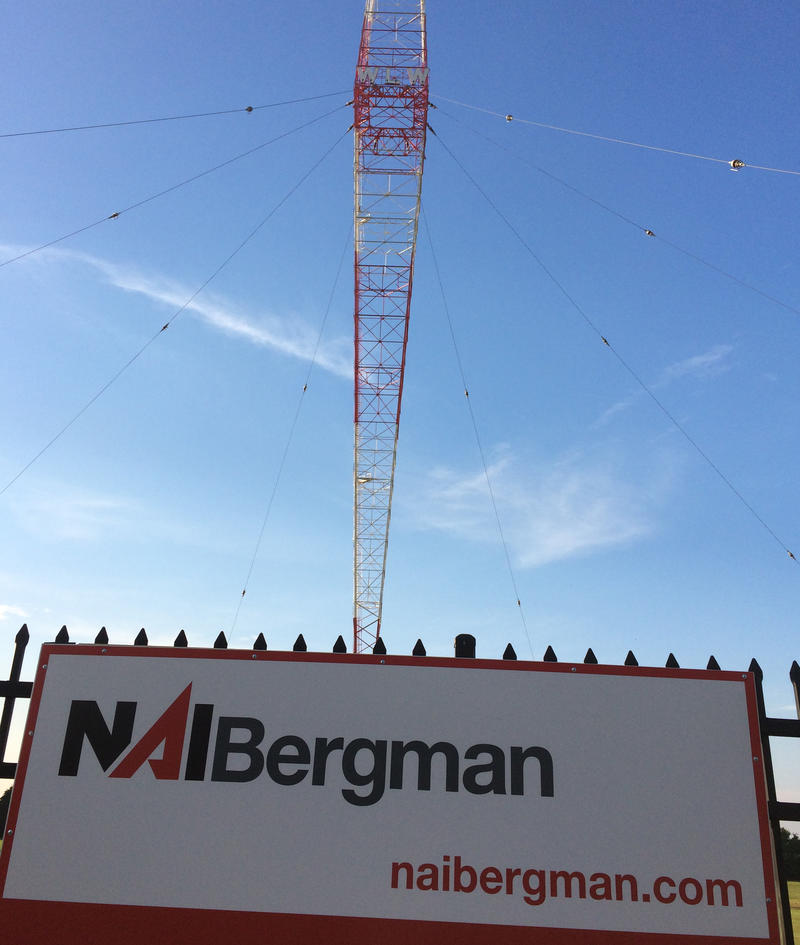 Sign for developer/property manager NAI Bergman  at WLW-AM tower site on 710 Tylersville Road, Mason