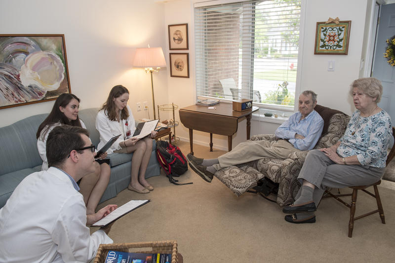 UC Medical students say they get a good perspective on how the healthcare system has changed by talking to older adults. Pictured from left are: Parker Howard, Hillary Purcell, Lindsay Darkins, Ed Yungk and Marilyn Yungk.