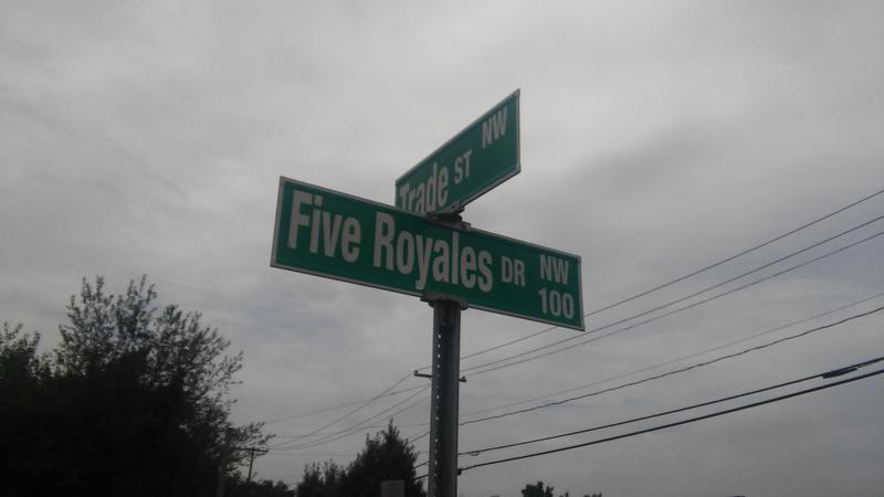 Street sign in honor of the 5 Royales