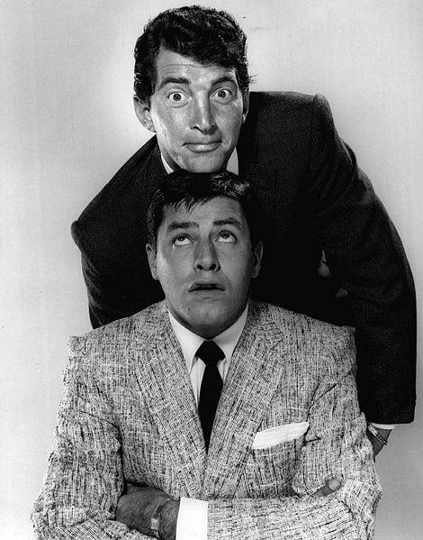 "Jerry Lewis and Dean Martin from ""The Colgate Comedy Hour"" in 1955, a year before they broke up their popular act."
