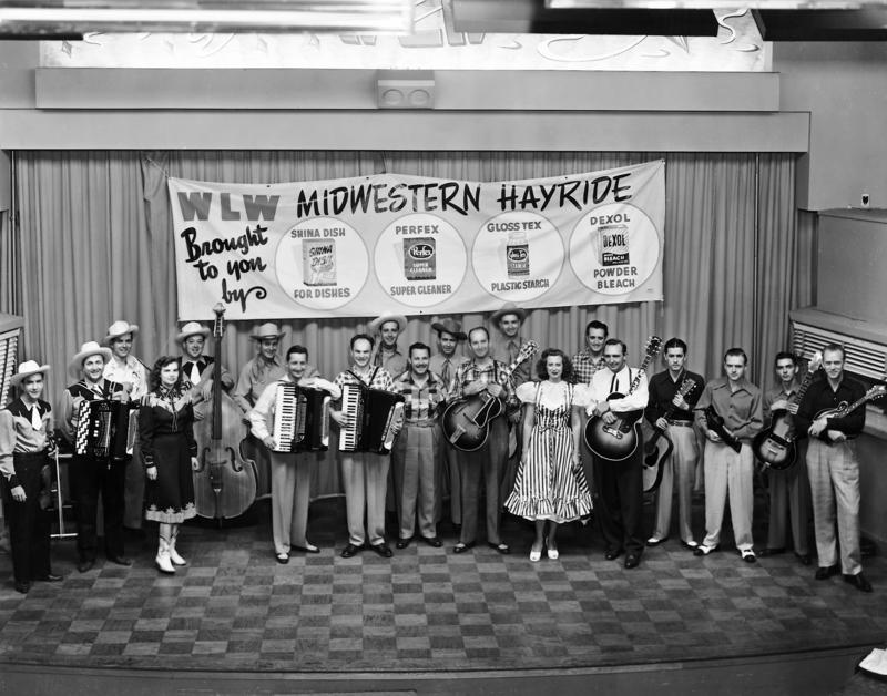 "Early 1950s ""Midwestern Hayride"" cast photo in WLWT-TV studio."
