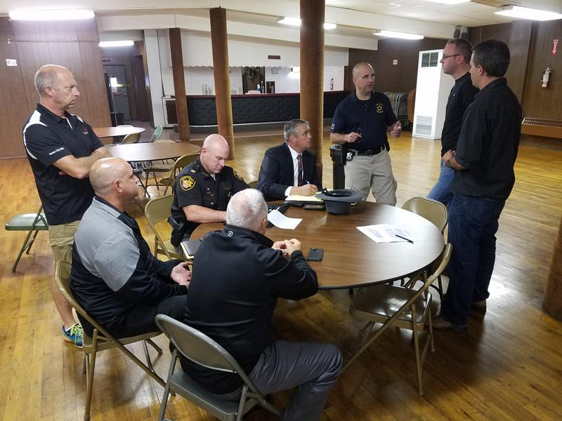 Police officers met Friday to begin planning how to house families of first responders from Texas.