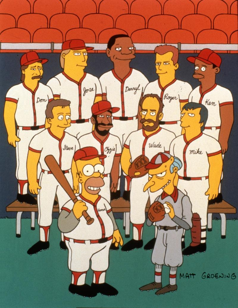"""Homer At The Bat"" in 1992 featured the voices of Steve Sax, Roger Clemens, Wade Boggs, Ken Griffey Jr., Ozzie Smith, José Canseco, Don Mattingly, Mike Scioscia and Darryl Strawberry."