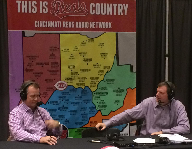 "Jim Kelch (right) and Jeff Brantley at the ""Reds Hot Stove League"" radio broadcast in January 2017."