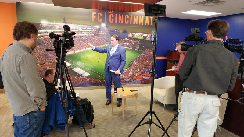 FC Cincinnati President and General Manager Jeff Berding updates the media on plans to build a stadium, in a bid to win a major league franchise.