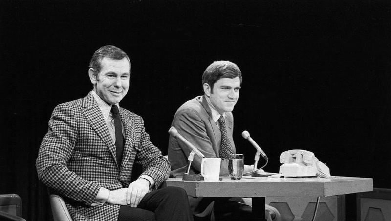 Phil Donahue interviews Johnny Carson at Dayton's Channel 2 on Aug. 27, 1970.