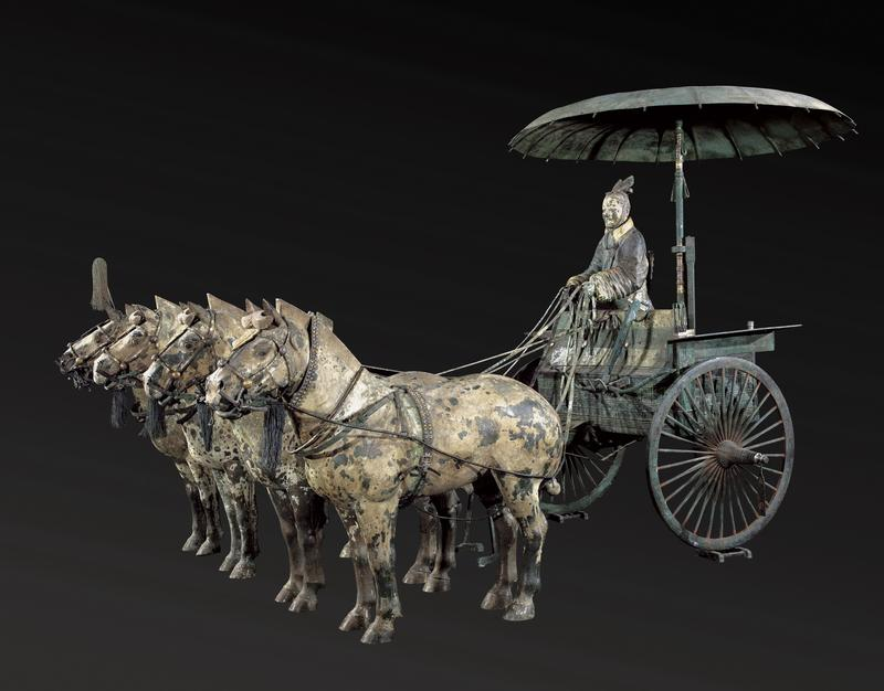 Chariot No. 1 with Horses  (replica), Qin dynasty (221  –  206 BC), bronze, pigment, Excavated from Pit of Bronze Chariots, Qin Shihuang's Mausoleum, 1980, Emperor Qin Shihuang's Mausoleum Site Museum