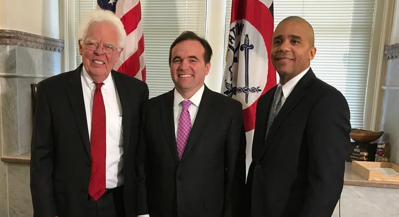 Cincinnati Council Member David Mann, Mayor John Cranley and Council Member Christopher Smitherman.