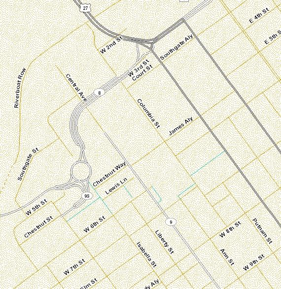 This KTC map shows two roundabouts, one at KY 8 and KY 9, and the other at US 27 and KY 8.