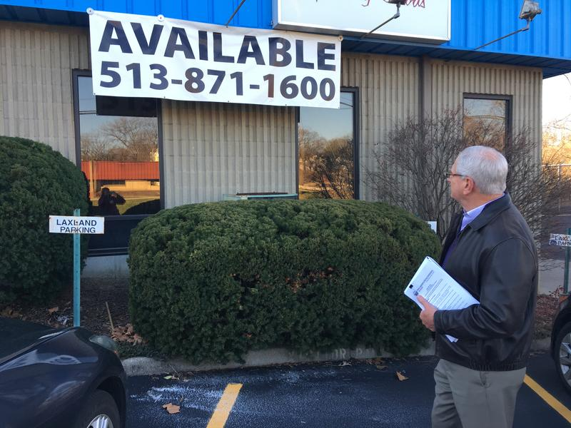 Columbia Township Administrator Mike Lemon points out a location that one possible dispensary lists at 5149 Kennedy Ave.