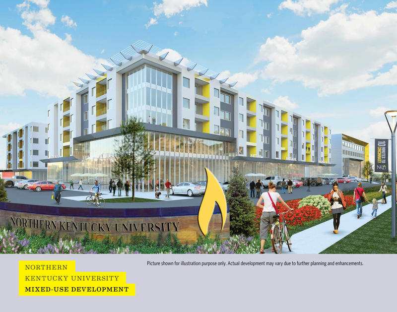 An artist rendering of the mixed-use development and medical office building planned for Highland Heights.