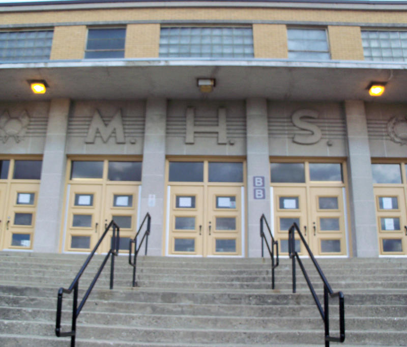 Wade E. Miller Gym entrance on Curtis Street in Middletown.