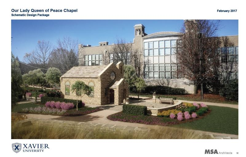 An artist rendering of how Our Lady of Peace Chapel will look on Xavier's campus.