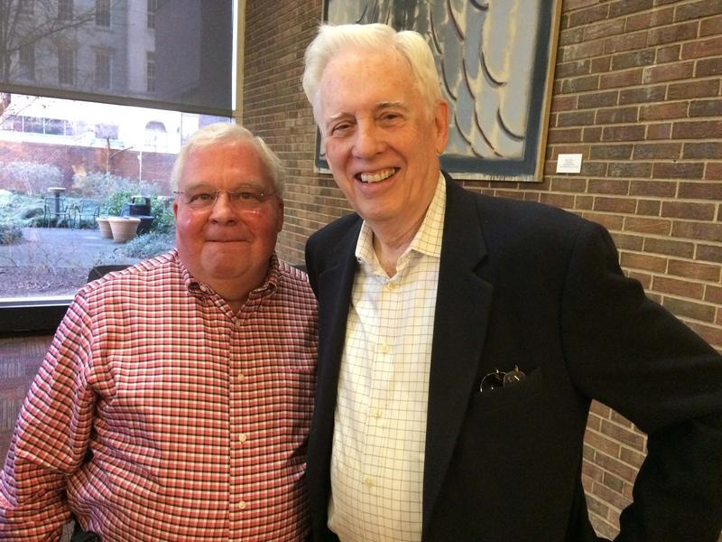 "Former radio executive Randy Michaels with DJ-turned-county auditor Dusty Rhodes at the ""Remembering Rock Radio Rivalries"" at the downtown public library Sunday."