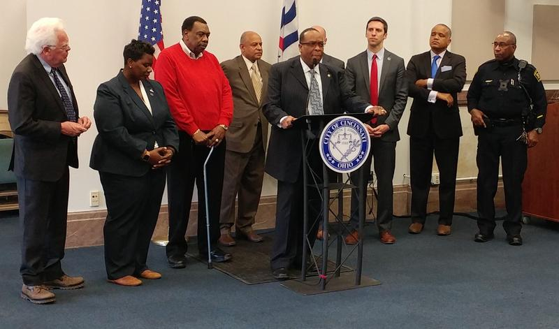 Bishop Bobby Hilton, flanked by city and civic leaders, promotes the effort to end institutional racism in Cincinnati.