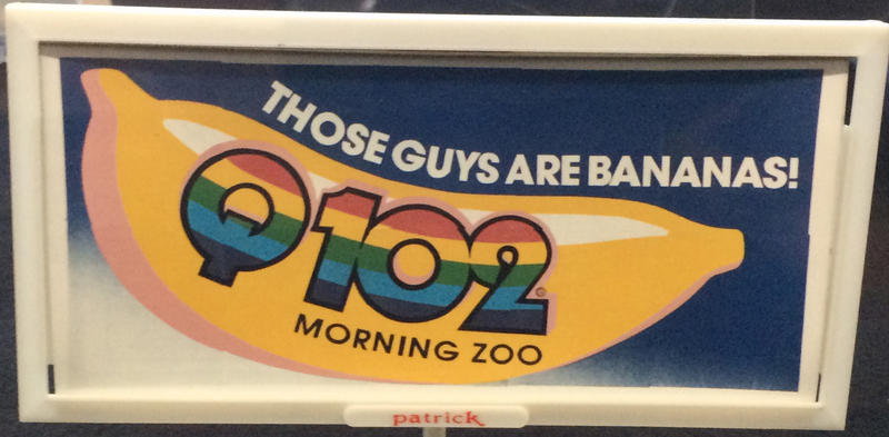 A WKRQ-FM billboard for its Q102 Morning Zoo show in the 1980s.